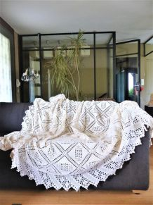grand plaid au crochet vintage fait main coton écru