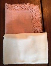 Nappe coton blanche 2.50m x 1.50m & surnappe rose
