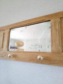 Porte manteaux en chêne miroir biseauté