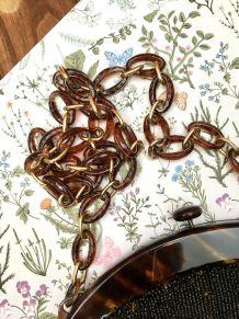 Pochette vintage en perles de verre