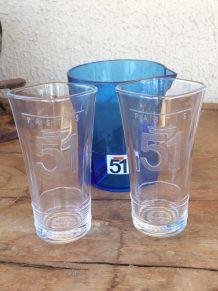 Lot PASTIS 51, 1 verre RARE et pichet bleu