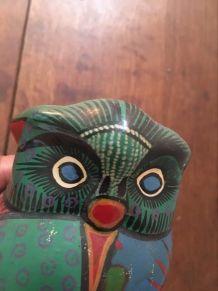 Chouette peinte artisanat Mexique années 80.