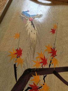 Plateau bois peint vintage