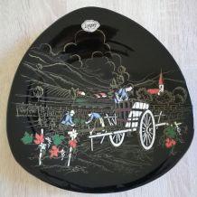 Assiette céramique Longwy-Grand feu, les vignobles