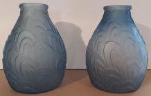 duo de vases Sars art déco bleu
