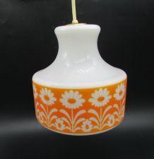 lustre verre opaline frise orange déco fleurs vintage opalin