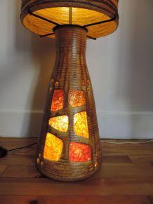 Lampe géante à poser en céramique-Potiers d'Accolay circa 19