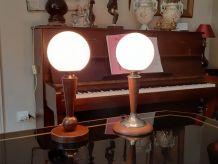 Paire de lampes en bois tourné
