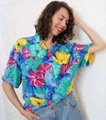 Chemise manches courtes fleurs exotiques vintage 80's