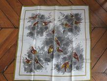 Foulard vintage neuf, motif moineaux