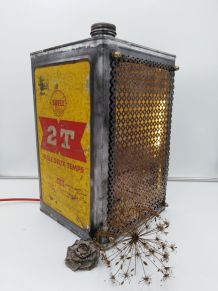 BIDON D'HUILE VINTAGE TRANSFORMÉ EN LAMPE/LAMPE INDUSTRIELLE