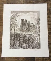 Gravure DECARIS originale signée numérotée Paris 1986