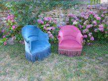 Paire de fauteuils crapaud vintage