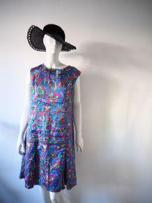 Robe tunique satinée motifs psychédéliques vintage 70's