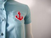 Robe navy babydoll plissée bleu clair vintage 60's