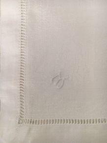 Nappe lin blanche + 6 serviettes 1,92 mx1,60m