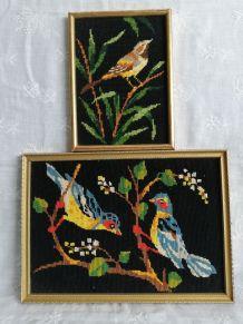 Duo canevas oiseaux vintage, cadres dorés