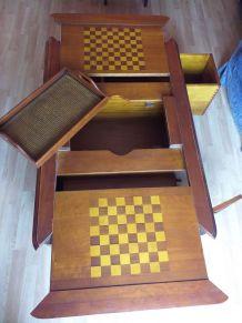 Table basse merisier massif avec bar