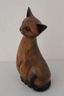 Statuette chat en bois