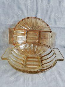 Grands plats creux en verre irisé vintage