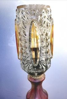 Paire de lampes vintage laiton et verre