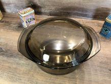 Cocotte Arcopal couvercle, en verre fumé  Vintage