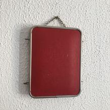 Miroir triptyque de barbier rouge diable vintage 1960 - 20 x