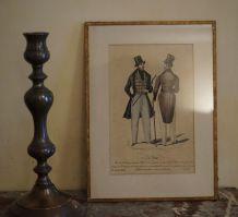 gravure illustrée de mode ancienne homme en costume 1834