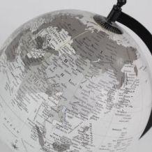 mappemonde/ globe terrestre noir & gris - pied métal noir -