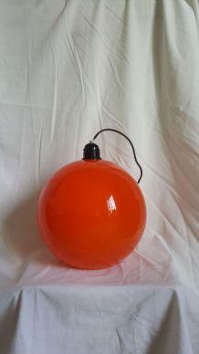 Suspension vintage orange en verre