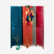 Paravent en bois massif ethnique coloré effet rustique
