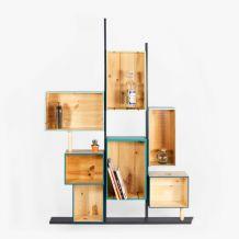 Étagère bibliothèque caisses bleu-vertes design bois massif