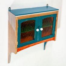 Étagère murale chêne rustique colorée portes vitrées