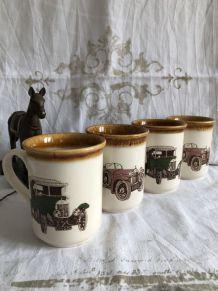 4 Mugs Staffordshire cars England antique.