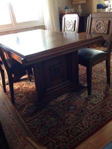 Table de salle à manger en bois art déco vintage