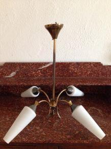 Suspension en bronze et verre à 4 branches