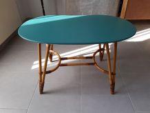 Table basse vintage bois et rotin