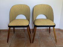Paire de chaises cocktail vintage. Skaï jaune et noir. 1950/