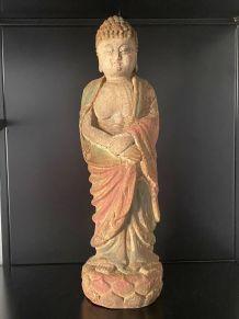 XIX eme Antique Bouddha Tibet sculpture bois
