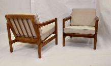 Paire de fauteuils style scandinave années 60 tissu chiné f