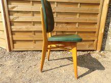 4 Chaises Vintage  1950 -Vert kaki, moleskine, bois être