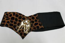 ceinture noire élastique panthère