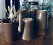 Tasses gobelets ou stonewars tumblers grès brut Digoin