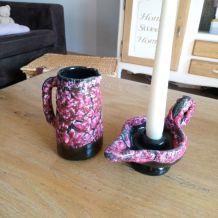Pichet et bougeoir en céramique