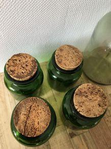 4 pots en verre et liège vintage