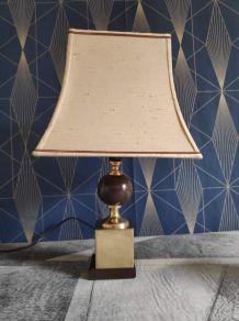lampe à poser vintage, pied bois et laiton, abat-jour tissu