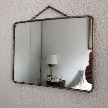 Miroir barbier coiffeur carton vintage 1960 - 30 x 24 cm