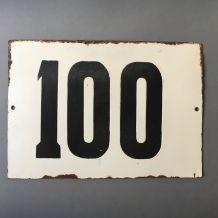 """ANCIENNE GRANDE PLAQUE DE RUE SOVIETIQUE NUMERO """"100"""""""