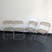 4 chaises Plia par Giancarlo Piretti pour Castelli vintage 1