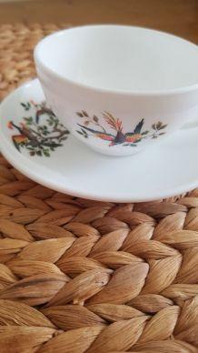 Lot de 2 tasses et soucoupes Arcopal  - Motif oiseaux faisan